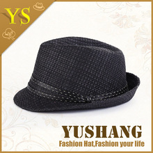 2015 cheap high quality black fedora hat with black band