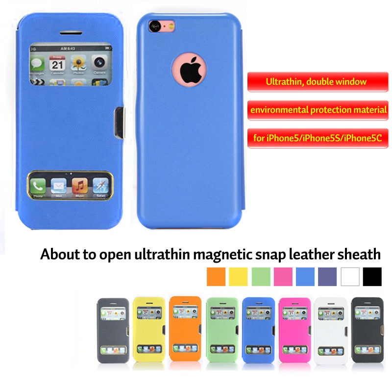 Fashion open ultrathin magnetic snap leather sheath for iphone5 5c 5s