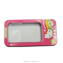 New design wholesale rectangle pencil metal tin boxes with window