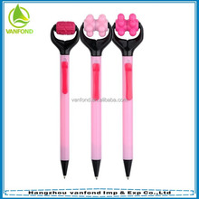 Novelty pink plastic massage ball point pen,office promotion pen
