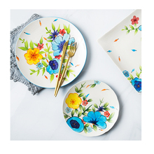 Nordic style under glaze <strong>flat</strong> handmade crockery tableware ceramic dinner plate