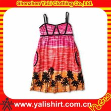 Lovely custom cheap spaghetti strap print cotton fashion picture of children casual dress