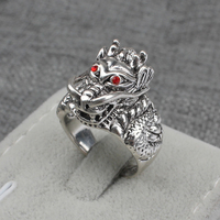 Red Eyes Retro Gift for Men Antique Silver Plated Animal Holy Symbol Noble Unique Vintage Dragon Ring Jewellery Cool Ring Men