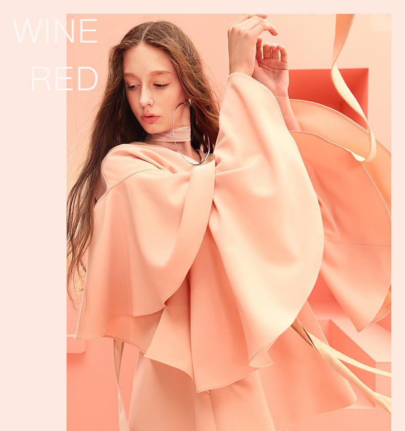 Chic loose flouncing V neck pinkish-orange flare sleeve dress China factory