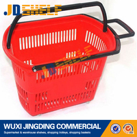 Durable plastic folding shopping basket with wheels