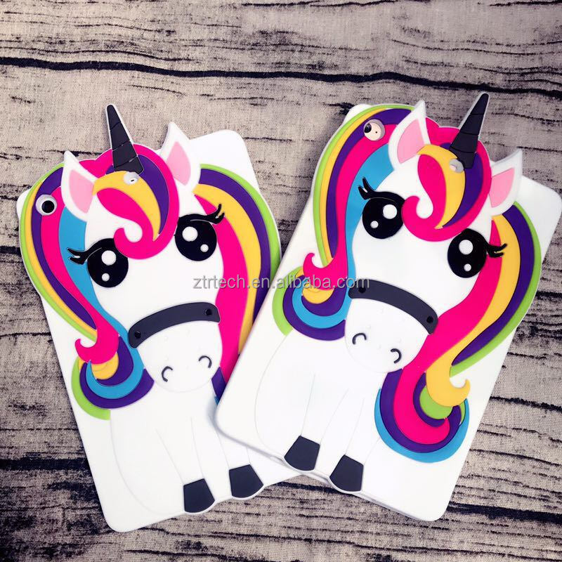 2017 new rubber 3d cartoon white unicorn case for ipad 2/3/4 silicone cartoon back cover