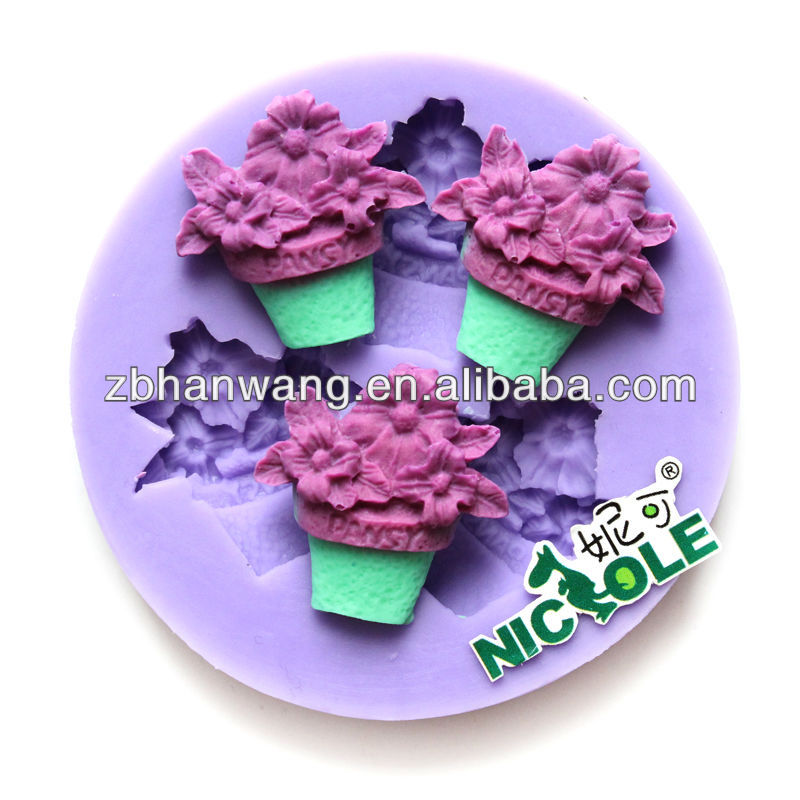 Potted Flowers shaped silicone cake model F0659