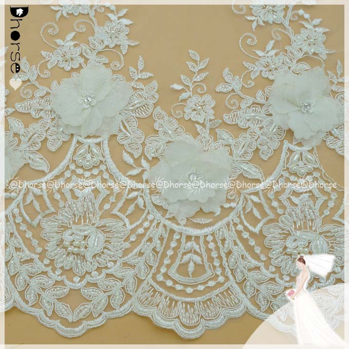 Latest white Flower Design Textile french Lace / Bead Embroidery Fabric / handmade flower french lace