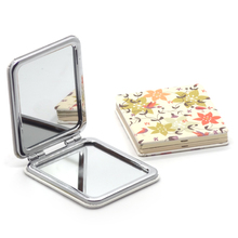Hot sales custom PU leather folding makeup mirror