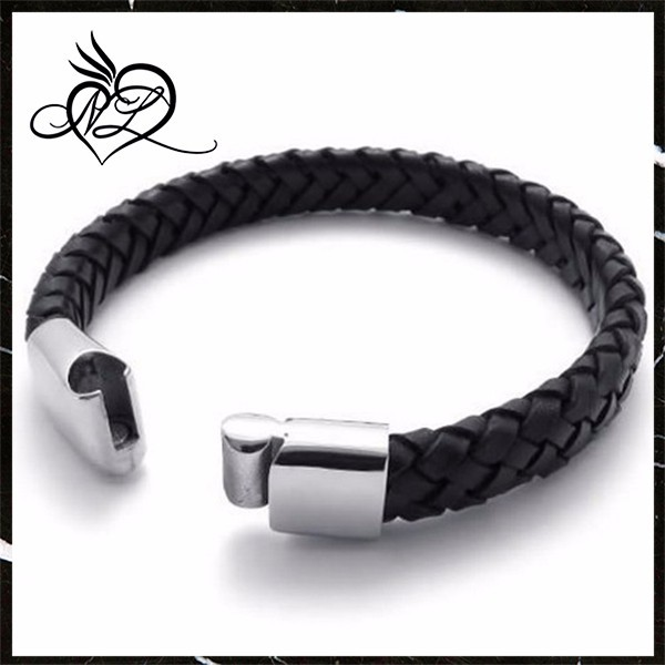 China offer hot sale Genuine Black mens braided leather magnetic bracelets