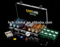 300pc Custom Printed Poker Chip Gift Set in Silver Aluminium Case