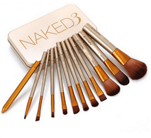 Hot !!! Good quality 12pcs brand naked3 makeup brush wholesale naked 3 brush set for cosmetics makeup brush free sample