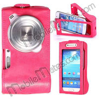 High Quality Camera Display Flip Leather Case for Samsung Galaxy S4 Zoom C1010