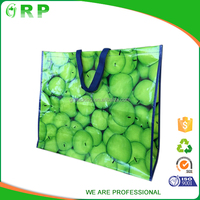 High quality folded light weight green fruit pattern laminated pp woven bag