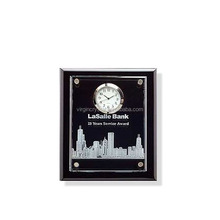 Wholesale Customized Black Wooden Base plaque award With Float Crystal Clock For Office Desktop set