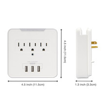 Multi-functional Socket Wall tap,Surge Protector with 3 USB Charging Ports, 3 AC Outlet Plugs and Phone Holder on the top