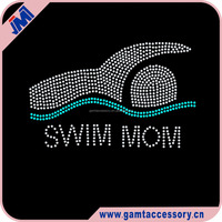Custom Swim Mom Rhinestone Iron on Transfer Wholesaler