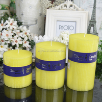 Yellow Vertical Stripes Pillar Candles with Paper Sleeve
