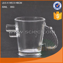 50ml small high quality fancy shape gun shape glass wine cup wholesale