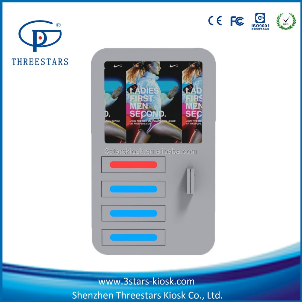wall mounted with 4 lockers digital device charging station for mobile phone