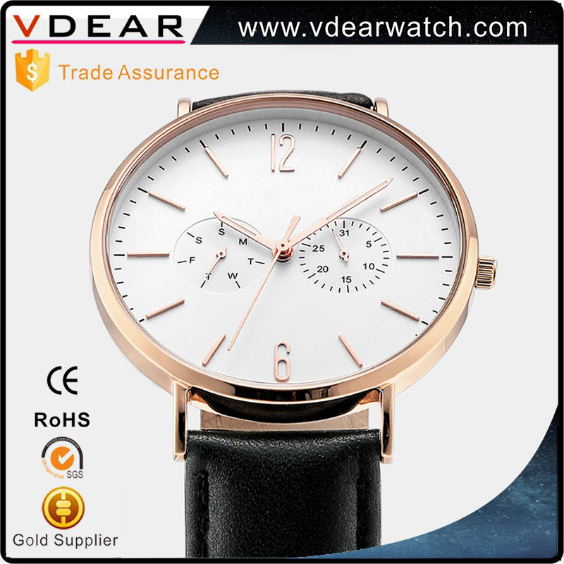 2017 New model luxury mens watch stainless steel chronograph wrist watch with leather