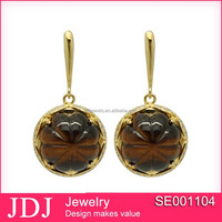 2015 Korean new fashion designs jewelry model 18k gold plated earrings in 925 silver
