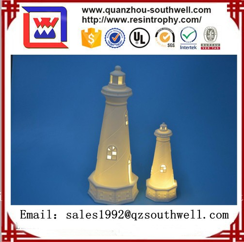 Ceramic Lighthouse Model With Led For Decoration