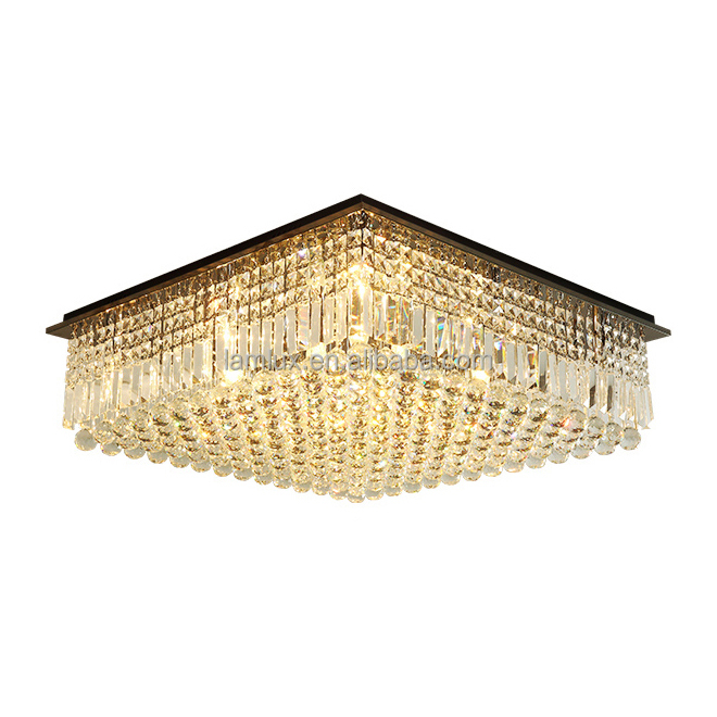 Length 32&quot; height 32&quot; crystal chandelier lighting modern square crystal ceiling chandeliers living room bedroom ceiling <strong>lamps</strong>