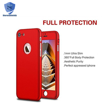 360 Degree Full Body Case For iPhone 7 Plus,Ultra Thin Hard PC Phone Case 360 With Tempered Glass Screen Protector