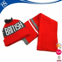 Hot selling hats and alibaba scarves sets,winter knitted christmas scarves