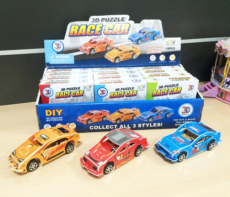 3D puzzle pull back racing car toys for kids cheap price truck train model toy from China