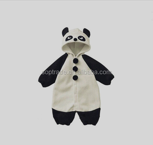 2015 new style fashion cute baby fancy cotton knitted panda hoodie with ears