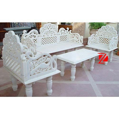 carving stone table and chair set in white marble