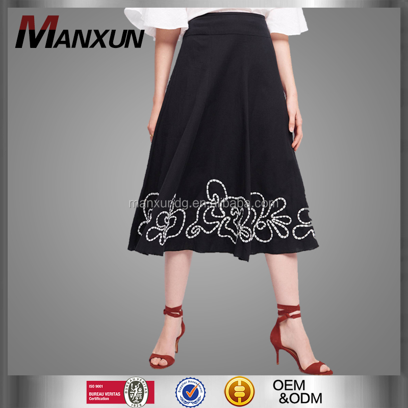 2017 Manufacturing Latest Long Skirt Design Picture With Embroidery Elegant Dress A-line Pencil Pleated Skirt