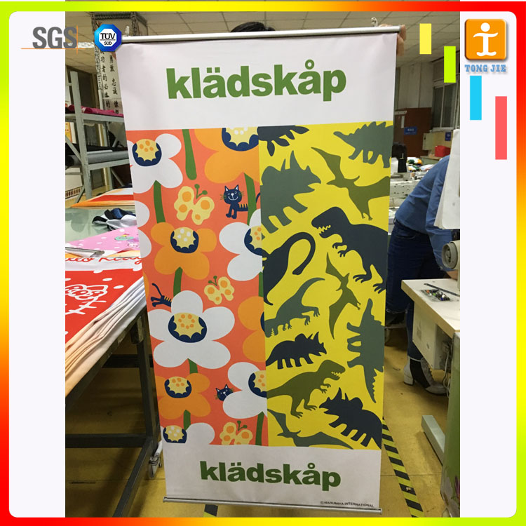 Custom dye sublimatioin Indoor Hanging Fabric Flags Banner with single side or double sided option