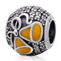 Yellow Enamel Jingle Bell Clear CZ Zircon Pave Round Authentic 925 Sterling Silver European Charm Beads Christmas Gift SZPB259