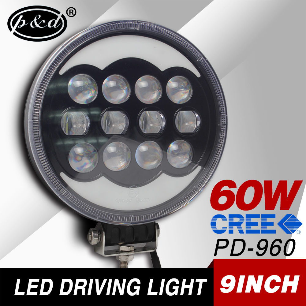 12v 6pcs*10w 60w 9inch round cre e led driving light for trucks