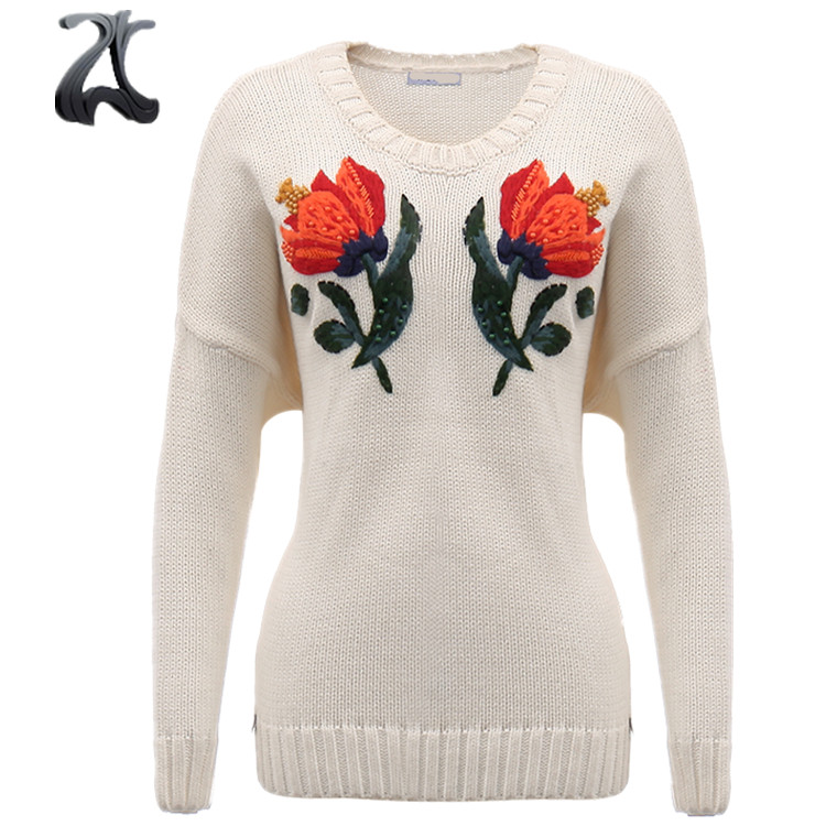 2018 Hand Embroidery Fashion Pullover Custom Knit Woman Sweater