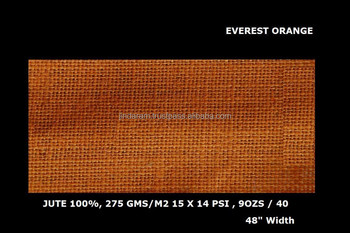 "Everest quality orange dyed color jute laminated fabric 48"" Width"