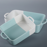 Hot sale two tone glaze color, light blue and white baking dish, rectangular bakeware with handles