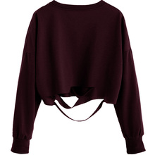 Online Shopping India Fashion Burgundy Drop Shoulder Cut Out Crop Ladies T-shirt
