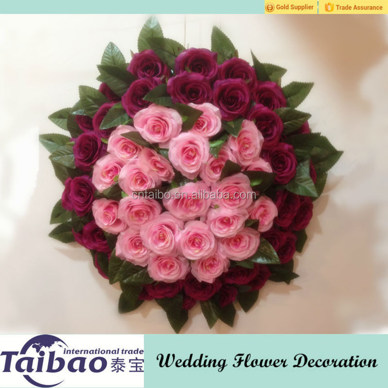 45 cm diameter red and pink colors around decoration wedding flower for wedding car