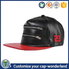 Plain Baseball Hat With Zipper Pocket Black And Red PU Leather Snapback Cap With Pocket