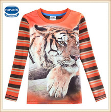2-6y (A5813Y) Salmon children clothes nova kids wear 3d print animal tiger boys autumn t shirts