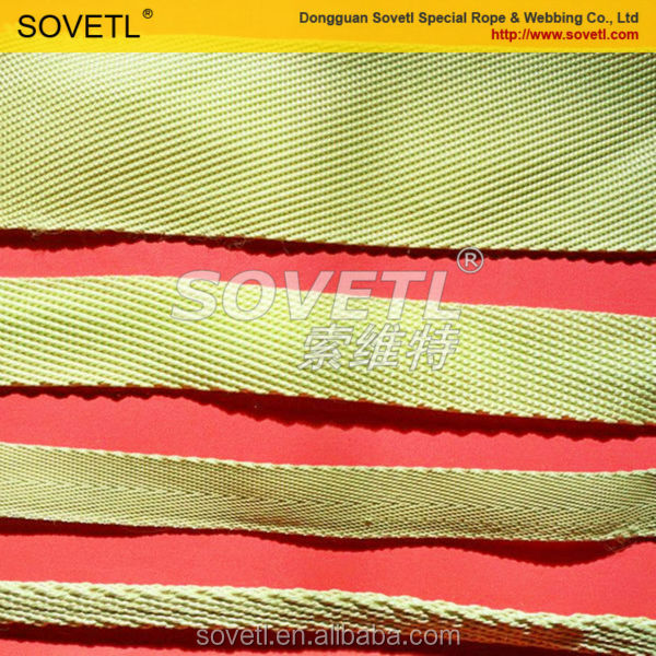 Flame retardant aramid webbing for industrial elastic webbing