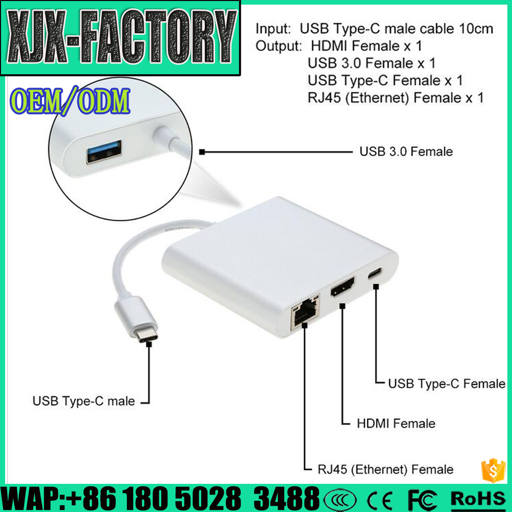 Top 3 factory!Top Quality usb c to RJ45 connector TYPE C TO HDMI+USB3.0+RJ45+AUDIO+PD Adapter