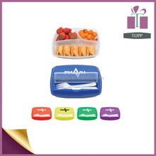 Refrigerator using three compartments plastic food container with divider