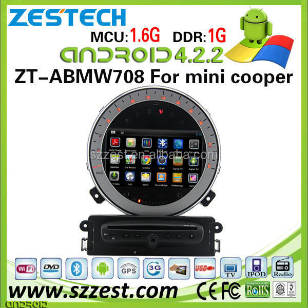 ZESTECH OEM 3g wifi bluetooth pure Andriod car dvd for BMW min cooper car dvd with dual core A9 DDR3 8 GB 1.6Ghz