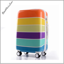 2017 new direction pc waterproof colorful striped durable women travel luggage