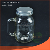 glass mason jar with handle screw top lid
